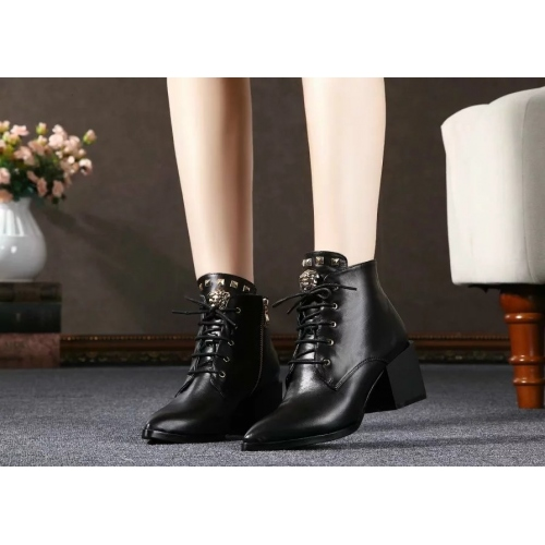 Cheap Versace Leather Boots For Women #279140 Replica Wholesale [$82.00 USD] [W-279140] on Replica Versace Boots