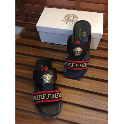 Cheap Versace Fashion Slippers For Men #367555 Replica Wholesale [$55.00 USD] [W-367555] on Replica Versace Slippers