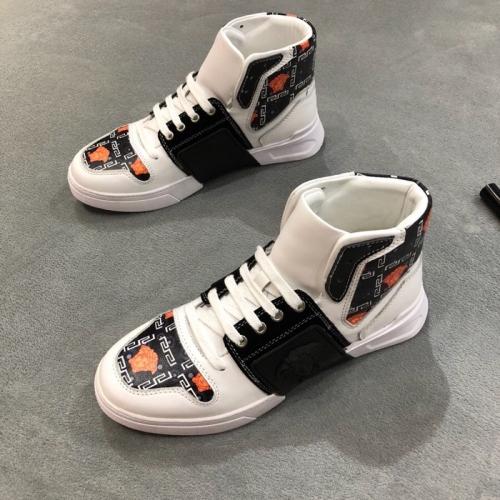 Cheap Versace High Tops Shoes For Men #446831 Replica Wholesale [$85.00 USD] [W-446831] on Replica Versace High Tops Shoes