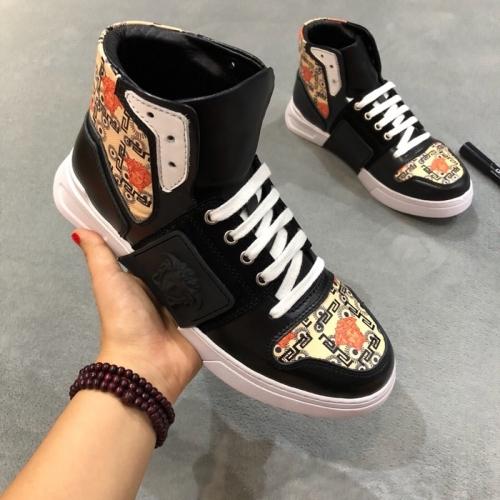Cheap Versace High Tops Shoes For Men #446832 Replica Wholesale [$85.00 USD] [W-446832] on Replica Versace High Tops Shoes