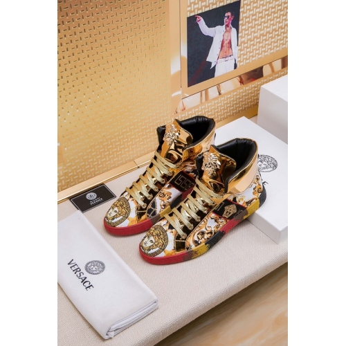 Cheap Versace High Tops Shoes For Men #447606 Replica Wholesale [$76.00 USD] [W-447606] on Replica Versace High Tops Shoes