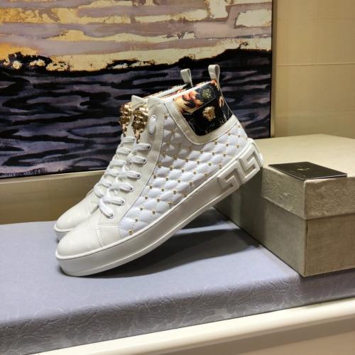 Cheap Versace High Tops Shoes For Men #447614 Replica Wholesale [$82.00 USD] [W-447614] on Replica Versace High Tops Shoes
