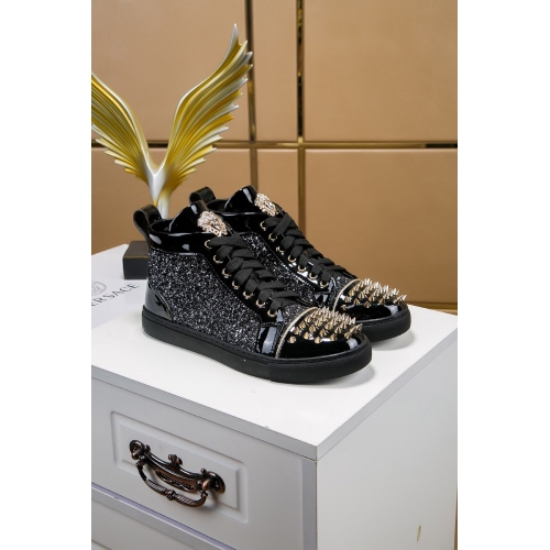 Cheap Versace High Tops Shoes For Men #447647 Replica Wholesale [$85.00 USD] [W-447647] on Replica Versace High Tops Shoes