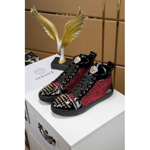 Cheap Versace High Tops Shoes For Men #447648 Replica Wholesale [$85.00 USD] [W-447648] on Replica Versace High Tops Shoes
