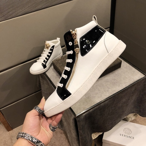 Cheap Versace High Tops Shoes For Men #447657 Replica Wholesale [$80.00 USD] [W-447657] on Replica Versace High Tops Shoes