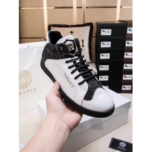 Cheap Versace High Tops Shoes For Men #447662 Replica Wholesale [$85.00 USD] [W-447662] on Replica Versace High Tops Shoes
