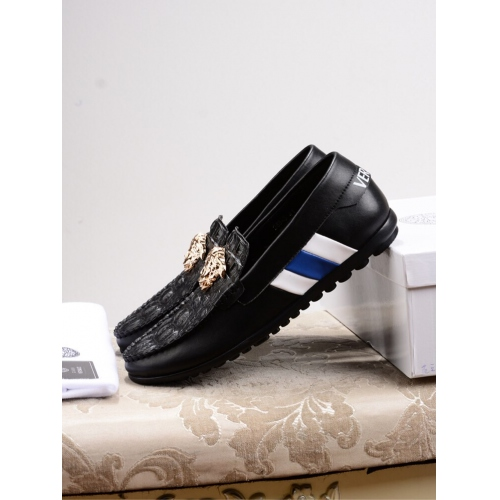 Cheap Versace Leather Shoes For Men #447667 Replica Wholesale [$78.00 USD] [W-447667] on Replica Versace Leather Shoes