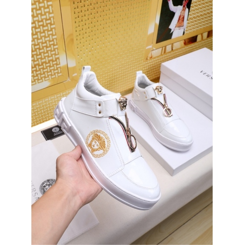 Cheap Versace High Tops Shoes For Men #447672 Replica Wholesale [$79.00 USD] [W-447672] on Replica Versace High Tops Shoes
