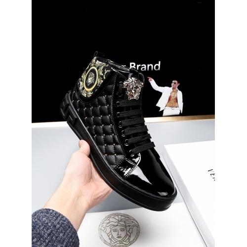 Cheap Versace High Tops Shoes For Men #447675 Replica Wholesale [$79.00 USD] [W-447675] on Replica Versace High Tops Shoes