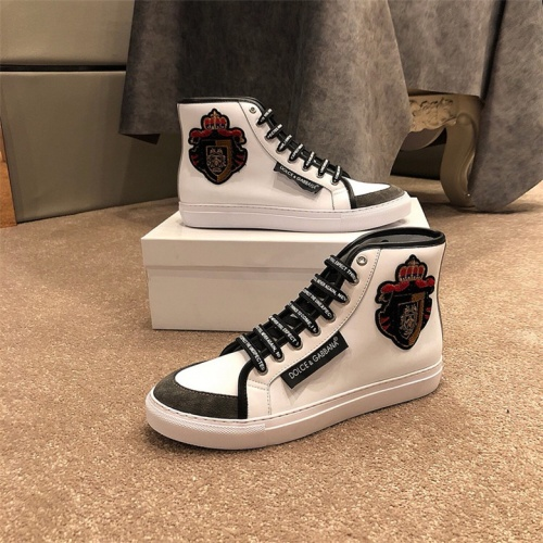 Cheap Dolce&Gabbana D&G High Tops Shoes For Men #464218 Replica Wholesale [$77.60 USD] [W#464218] on Replica D&G High Top Shoes