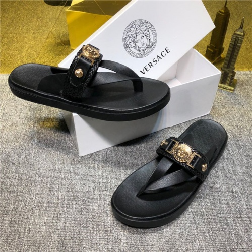 Cheap Versace Fashion Slippers For Men #497803 Replica Wholesale [$50.44 USD] [W#497803] on Replica Versace Slippers