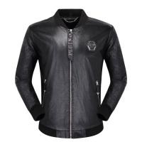 Philipp Plein PP Leather Jackets Long Sleeved Zipper For Men #498631