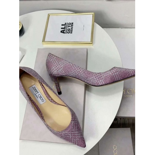 Cheap Jimmy Choo High-Heeled Shoes For Women #525757 Replica Wholesale [$85.36 USD] [W#525757] on Replica Jimmy Choo High-Heeled Shoes