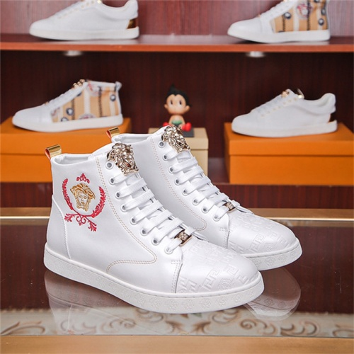 Cheap Versace High Tops Shoes For Men #531338 Replica Wholesale [$77.60 USD] [W#531338] on Replica Versace High Tops Shoes