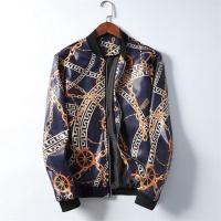 Versace Leather Coats Long Sleeved Zipper For Men #531604